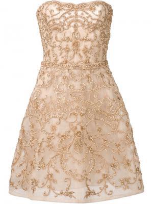 Платье с отделкой из бисера Monique Lhuillier. Цвет: телесный