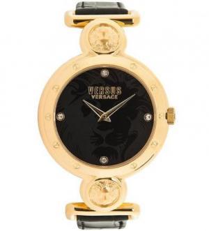 Часы круглой формы с черным циферблатом VERSUS