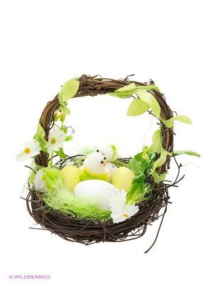 Сувенир Корзинка с цыплятами Пуффи. Цвет: салатовый