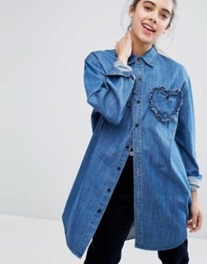 Lazy Oaf Джинсовая рубашка с отделкой сердечками. Цвет: синий