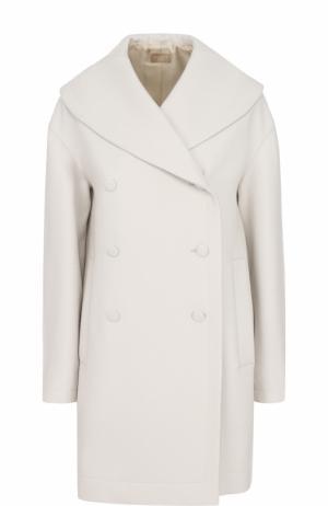 Шерстяное двубортное пальто Alaia. Цвет: белый