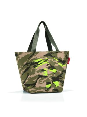 Сумка Shopper M camouflage Reisenthel. Цвет: хаки