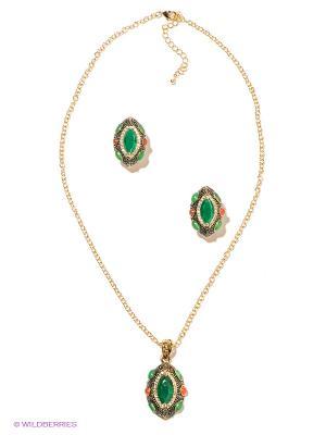 Комплект Bijoux Land. Цвет: зеленый, красный, золотистый