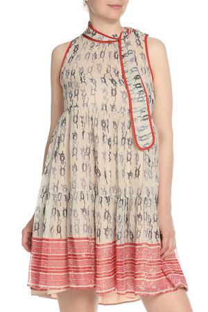 Платье с завязкой на шее Valentino Red. Цвет: принт