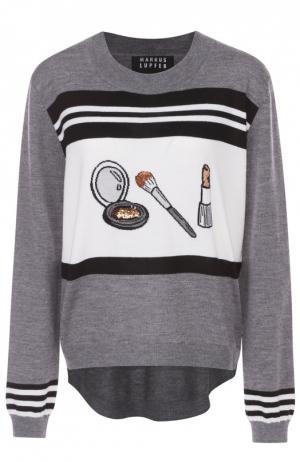 Пуловер с удлиненной спинкой и контрастным принтом Markus Lupfer. Цвет: серый
