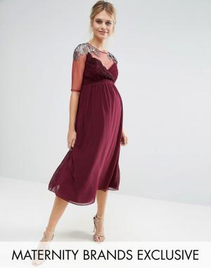 Little Mistress Maternity Приталенное платье для беременных с сеточкой и отделкой на плечах Litt. Цвет: красный