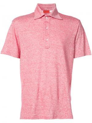 Рубашка-поло узкого кроя Isaia. Цвет: розовый и фиолетовый