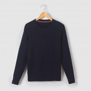 Пуловер из трикотажа утепленный, 10-16 лет R essentiel. Цвет: синий морской