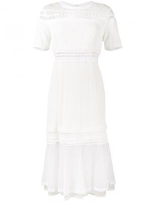 Кружевное платье миди с короткими рукавами Jonathan Simkhai. Цвет: белый