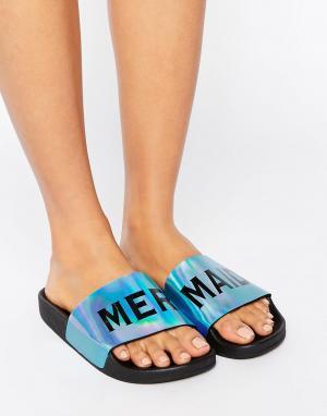 THEWHITEBRAND Переливающиеся сандалии-слайдеры WhiteBrand Mermaid. Цвет: синий