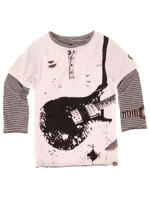 Лонгслив Ripped Electric Guitar Twofer Tee Mini Shatsu. Цвет: серый, белый, черный
