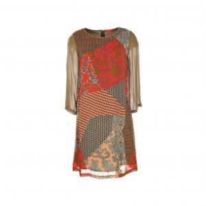 Платье Scaramouche из вуали с принтом RENE DERHY. Цвет: каштановый / оранжевый