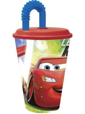 Стакан пластиковый с соломинкой и крышкой (спортивный, 430 мл). Тачки Грани гонок Stor. Цвет: красный, синий