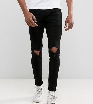 Liquor N Poker Черные облегающие джинсы с рваной отделкой. Цвет: черный