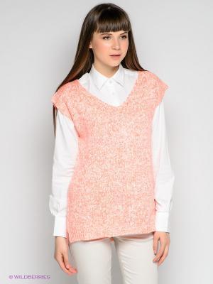 Пуловер EASY WEAR. Цвет: коралловый, белый