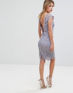 Paper Dolls Кружевное платье миди с фигурной отделкой на спине. Цвет: серый