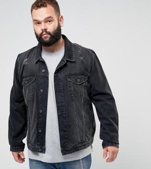 ASOS Черная джинсовая куртка с рваной отделкой PLUS. Цвет: черный