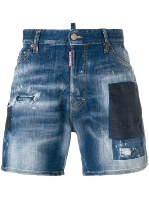Джинсовые шорты с потертой отделкой Dsquared2. Цвет: синий
