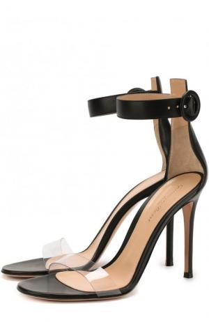 Кожаные босоножки Stella на шпильке Gianvito Rossi. Цвет: черный
