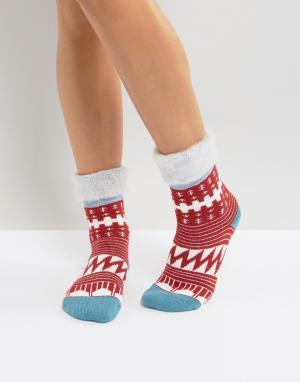 Free People Слиперы-носки с узором. Цвет: красный