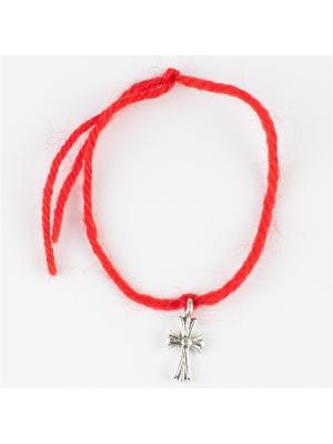 Браслет Красная нить бижутерный сплав Колечки. Цвет: серебристый