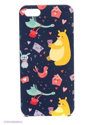 Чехол для IPhone 5 Медвежья почта Mitya Veselkov. Цвет: темно-синий, желтый