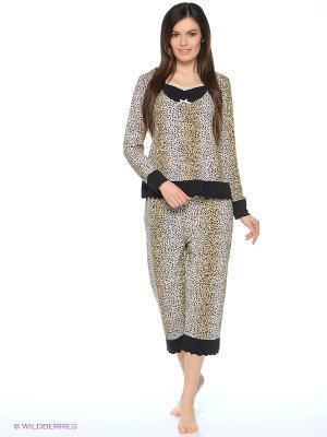 Пижама Del Fiore. Цвет: коричневый, бежевый
