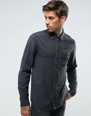 Another Influence Джинсовая рубашка с эффектом кислотной стирки. Цвет: черный