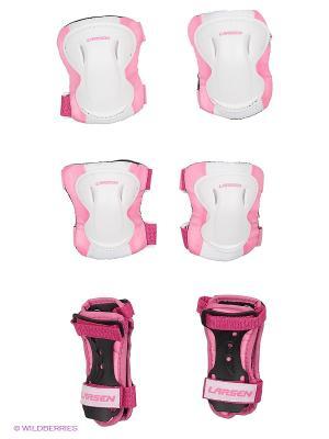 Защита роликовая Larsen. Цвет: розовый, белый