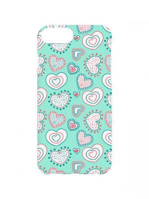 Чехол для iPhone 7Plus Сердца на бирюзовом-2 Арт. 7Plus-152 Chocopony. Цвет: бирюзовый, белый