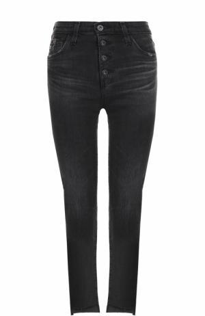 Укороченные джинсы с потертостями Ag. Цвет: черный