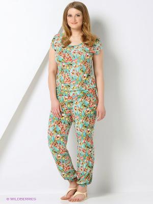 Комплект: блузка, брюки Milana Style. Цвет: салатовый