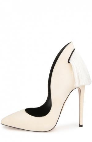 Замшевые туфли Manu с кисточками Aleksandersiradekian. Цвет: белый