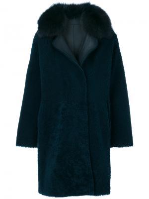 Vintage fur trim coat Guy Laroche. Цвет: синий