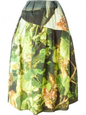 Пышная юбка с цветочным принтом Simone Rocha. Цвет: зелёный