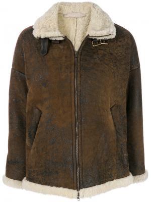 Куртка из овечьей шерсти на молнии Salvatore Santoro. Цвет: коричневый