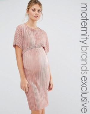 Queen Bee Плиссированное цельнокройное платье. Цвет: розовый
