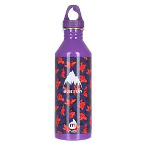 Бутылка для воды  Burton M8 800ml Leaves Glossy Purple W White Print Mizu. Цвет: белый