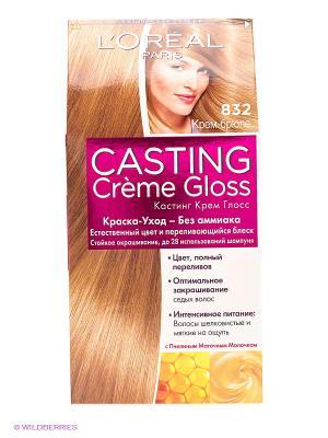 Стойкая краска-уход для волос Casting Creme Gloss без аммиака, оттенок 832, Крем-брюле L'Oreal Paris. Цвет: светло-коричневый