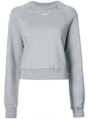 Zip collar logo sweatshirt Off-White. Цвет: серый