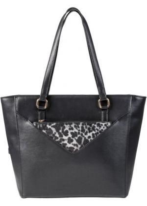 Сумка с отдельной небольшой сумочкой (черный/белый/цвет фуксии) bonprix. Цвет: черный/белый/цвет фуксии