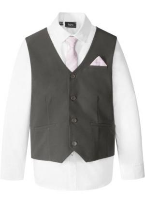 Жилет + рубашка галстук (3 изд.) (антрацитовый/белый) bonprix. Цвет: антрацитовый/белый