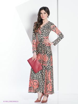 Платье МадаМ Т. Цвет: бежевый, коралловый, коричневый