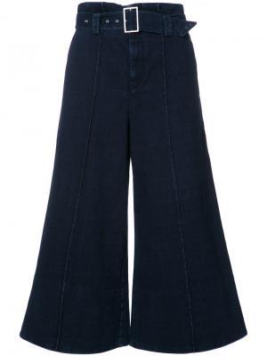 Укороченные широкие брюки Ag Jeans. Цвет: синий