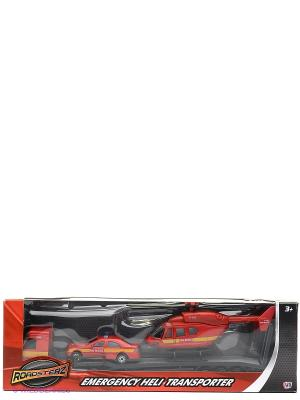 Игровой набор Перевозчик с машиной и вертолетом, красные HTI. Цвет: красный