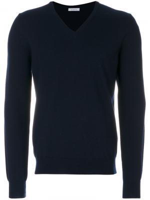 Классический пуловер с V-образным вырезом Malo. Цвет: синий