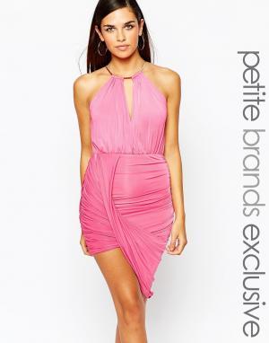Lipstick Boutique Petite Облегающее платье‑халтер с золотистой цепочкой Petit. Цвет: розовый
