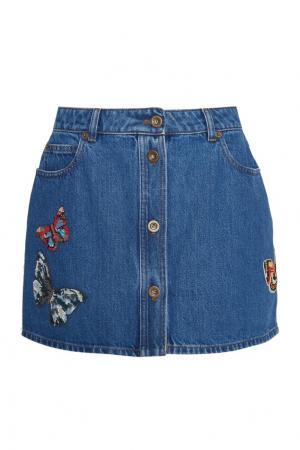 Джинсовая юбка с бабочками Valentino. Цвет: синий