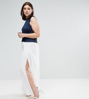 Elvi Белые брюки-палаццо. Цвет: белый