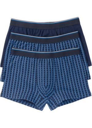 Трусы-боксеры (3 шт.) (темно-синий с узором) bonprix. Цвет: темно-синий с узором